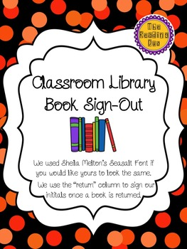 Book Sign Out -Editable