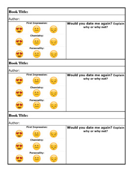 Speed dating sheet