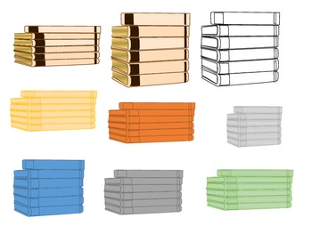 Book Stacks Clip Art - Commercial and Personal Use