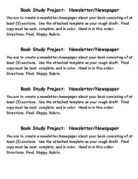 Book Study Project:  Newsletter/Newspaper/Rubric