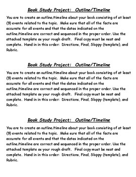 Book Study Project:  Outline/Timeline/Rubric