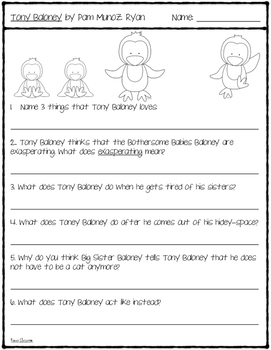 Tony Baloney: Comprehension Questions {Level L}