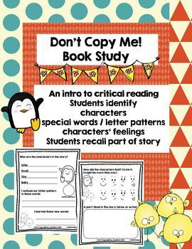 Book Study for Kindergarten, Don't Copy Me by Jonathan Allen - No Prep