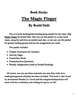 Book Study on The Magic Finger