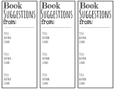 Book Suggestion Bookmarks