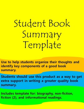 Student Book Summary Templates