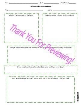 Student Book Summary Templates