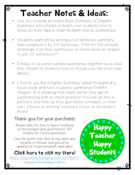 Book Summary AND Chapter Summary Worksheets: Perfect for Any Novel Study!