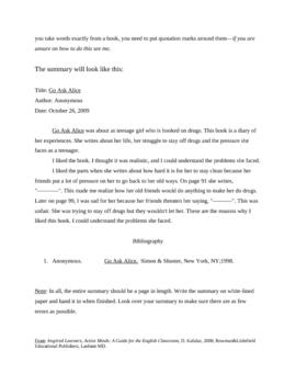 Book Summary Essay