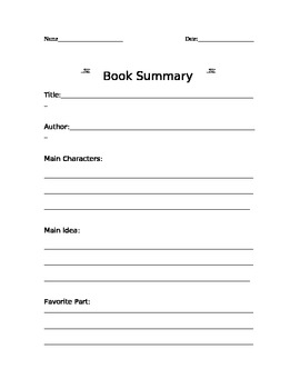 "Book Summary Form: One For Each ""Traditional"" School Month"