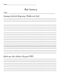 Book Summary Graphic Organizer