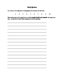 Book Summary & Review Handout