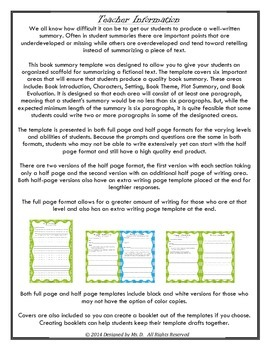 Book Summary Template Fiction Edition By Designed By Ms D TpT - Fiction summary template