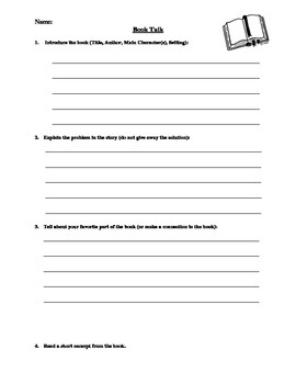 Book Talk Template and Scoring Sheet