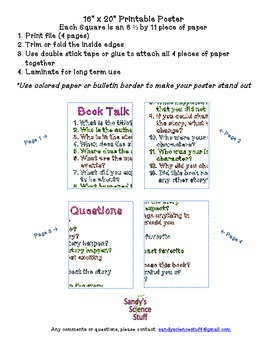 """Book Talk Questions (16""""x20"""") Printable Poster"""
