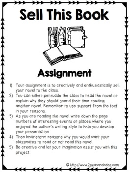 Book Talk Book Report Assignment