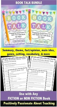 Book Talk BUNDLE: Comprehension Questions (Use ANY FICTION or NON FICTION Book)