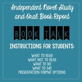 Book Talk (Oral Book Report Presentation): Detailed Instructions for Students