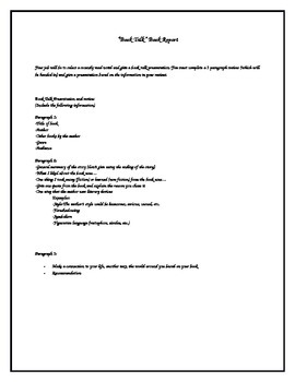 Book Talk Book report outline