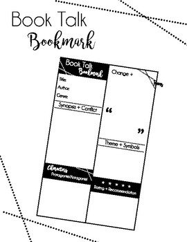 Book Talk Bookmark