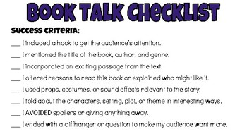 Book Talk Checklist