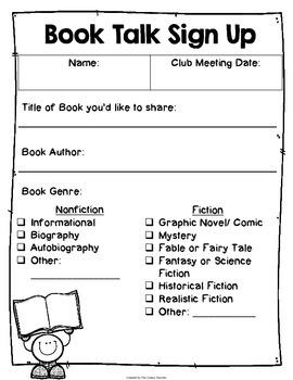 Book Talk Club-An alternative to Reading Logs