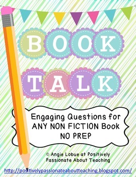 Book Talk: Comprehension Questions & Vocabulary for ANY NON FICTION Book