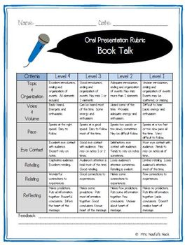 Oral Presentation - Book Talk with Graphic Organizer, Planning Guide and Rubric