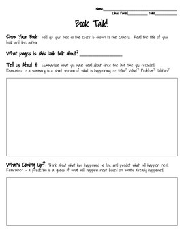 Book Talk Graphic Organizer