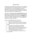 Book Talk Instructions and Rubric