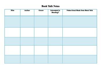 Book Talk Log