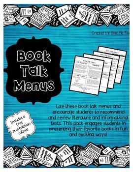 Book Talk Menus