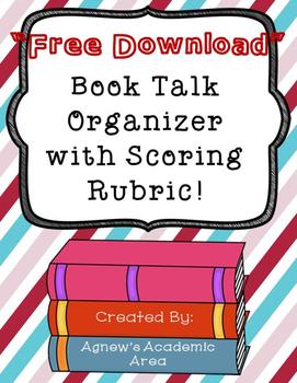 Book Talk Organizer with Scoring Rubric ~Freebie~