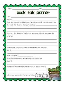 Book Talk Packet for Grades 3-6