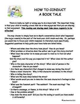 Book Talk Parent Letter