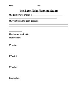 Book Talk Planning Sheet