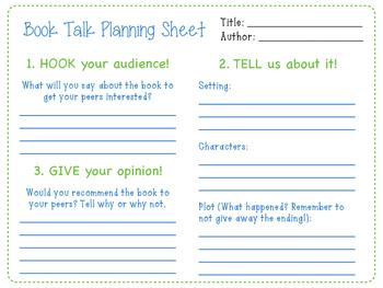 Book Talk Planning Sheet