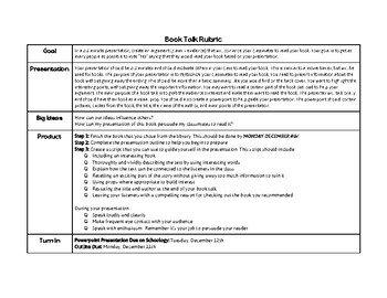 Book Talk Presentation Rubric