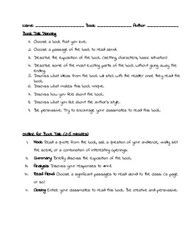 book talk project planning sheet practice log and rubric by erin