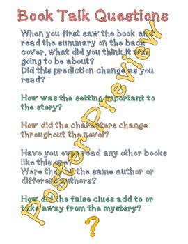 "Book Talk Questions 2 (16""x20"") Printable Poster"