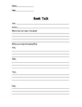 Book Talk Reading Assessment Tool