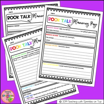 Book Talk Resource Kit - Planning Pages, Forms, Checklists & Rubrics