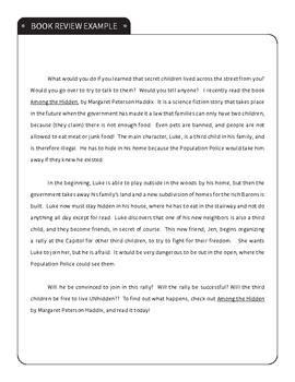 Book Talk / Book Review Report Template and Example (Like on Reading ...