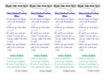 Book Talk Sentence Starter Bookmarks