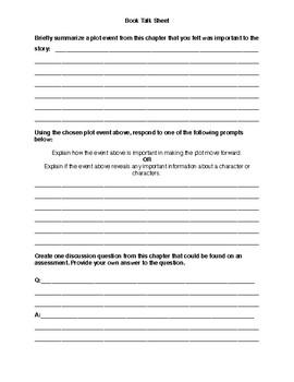Book Talk Sheet (literary text standards aligned)