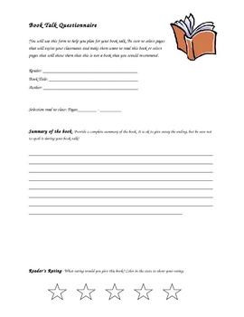 Book Talk Student Handout
