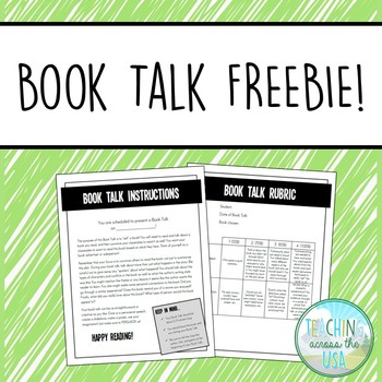 Book Talk Student Instructions, Rubric, & Sign Up Sheet