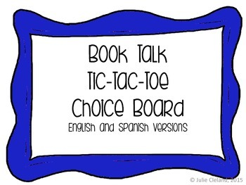 Book Talk Tic Tac Toe English and Spanish Versions