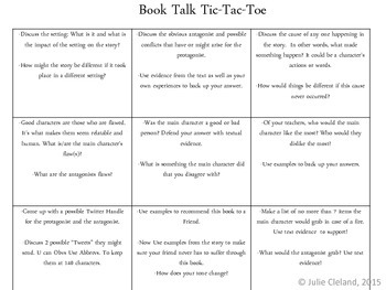 Book Talk Tic Tac Toe English and Spanish Versions