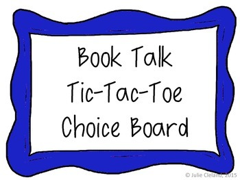 Book Talk Tic Tac Toe for Discussion